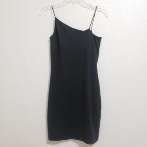 Wild Fable Black Mini Dress Asymmetrical Neckline